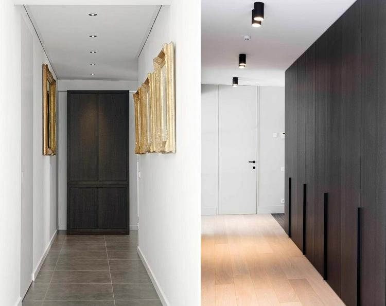 ciemne drewno korytarz